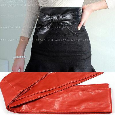 Women Sexy PU Leather Tie Corset Wide Kimono Wrap Cinch Waistband Obi Belt Long