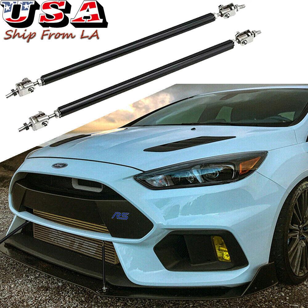 "Black 8-11/"" extension Rod Support Bumper Lip Diffuser splitter for BMW"