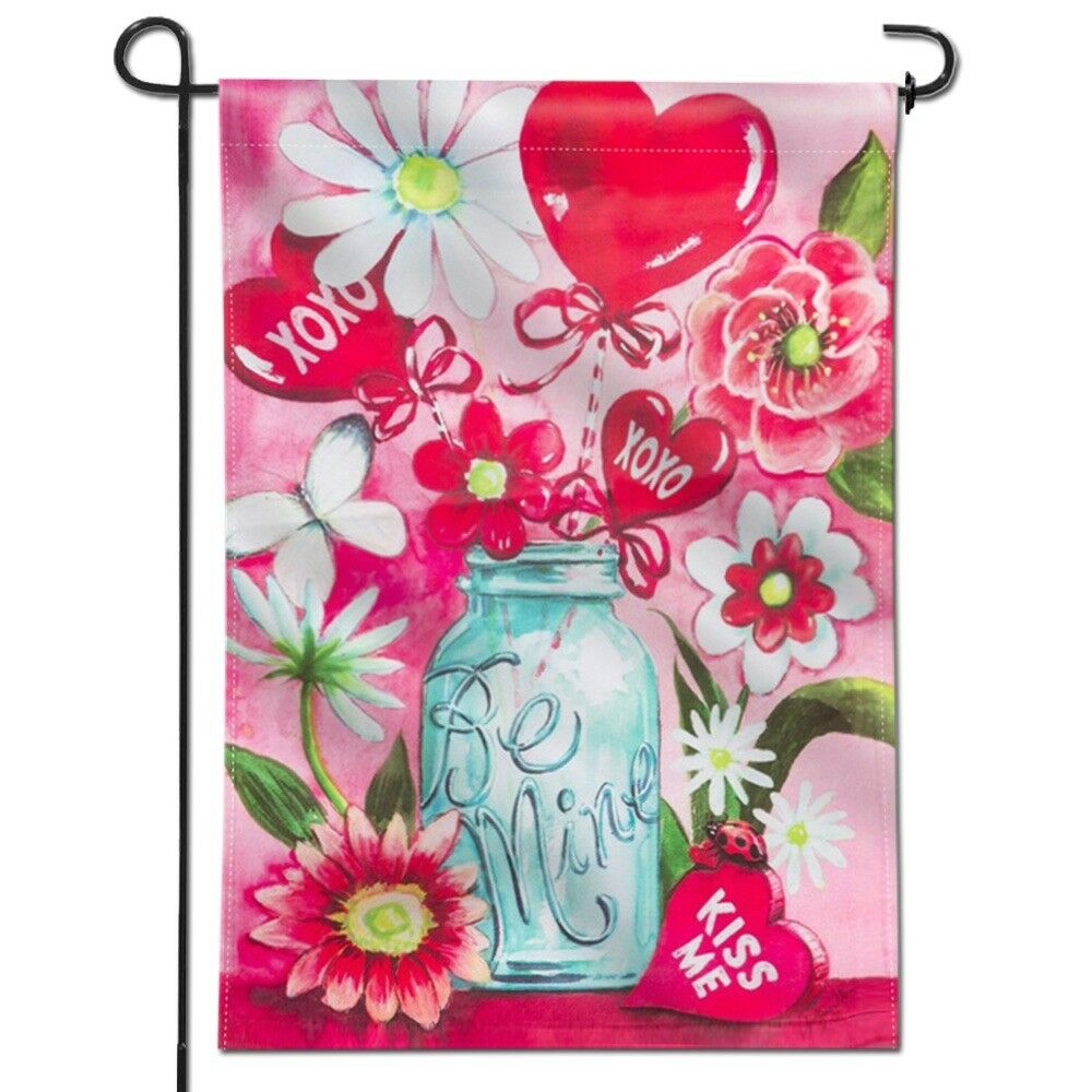 ANLEY Be Mine Mason Jar Garden Flag Double Sided & Stitched