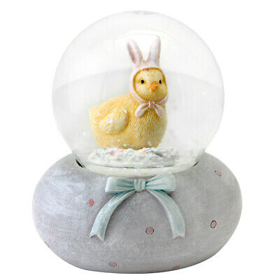 Gisela Graham Easter Snow Dome Chick With Bunny Ear Hat Decoration Gift Glitter