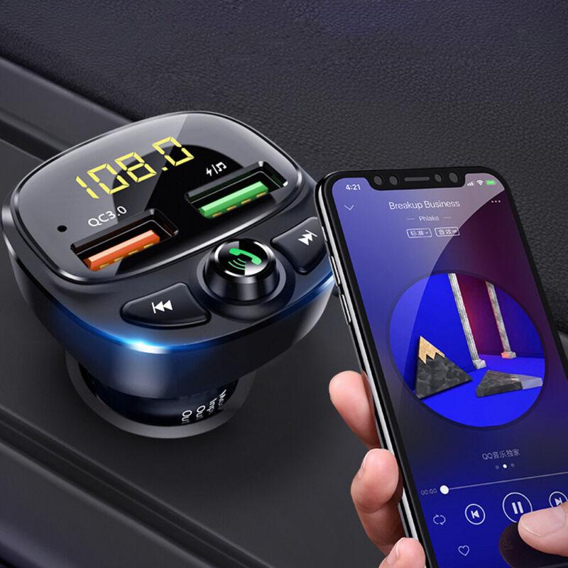 Bluetooth Wireless 5.0 FM Transmitter QC3.0 Car USB Charger