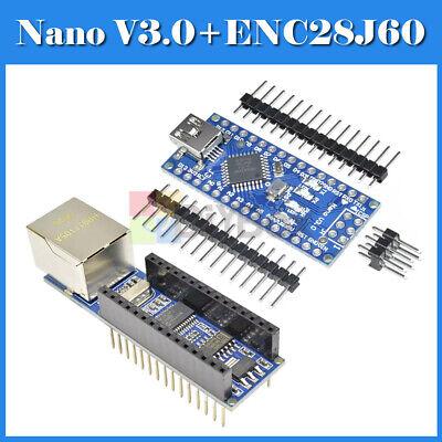 Usb Nano V3.0 Atmega328 5v Microcontroller Board Enc28j60 Ethernet Shield Module