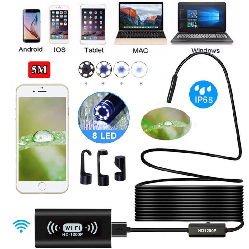 33ft WiFi 1200P Waterproof For iPhone Android Endoscope Inspection Video Camera