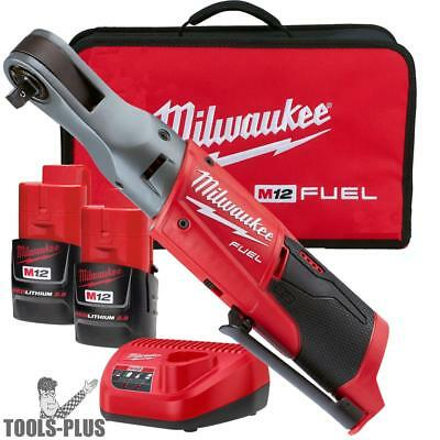 Milwaukee 2557-22 M12 Fuel 12v Li-ion Cordless 38 Ratchet 2 Battery Kit New