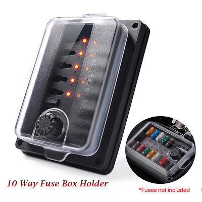 LED Illuminated Automotive Blade Fuse Holder Box 10-Circuit Fuse Block Cover