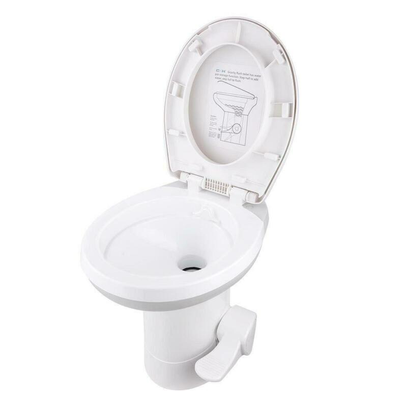 "Portable 20"" RV Toilet Gravity Flush Toilet Foot Pedal Caravan Travel Camping"