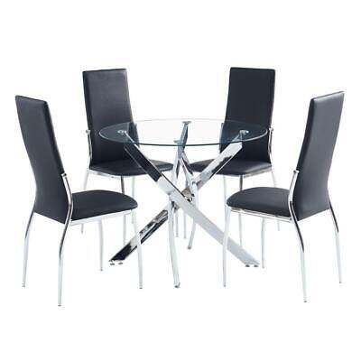 Modern 4Pcs Black Chairs Dining Table Set Glass Metal 1 Table Kitchen Room