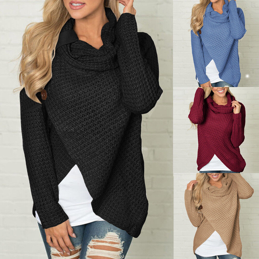 Women Loose Long Sleeve Button Cowl Neck Knitted Pullover Jumper Sweaters UK