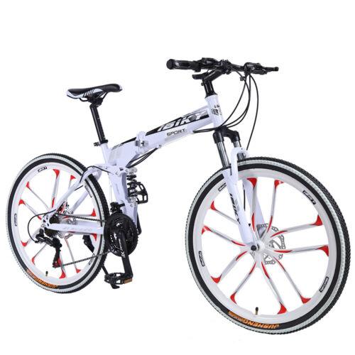 "26"" Folding Mountain Bike 21 Speed Bicycle Full Suspension MTB Bikes White"