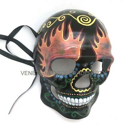 Day of the Dead Masquerade Dia de los Muertos Skeleton Sugar Skull Mask - Fire