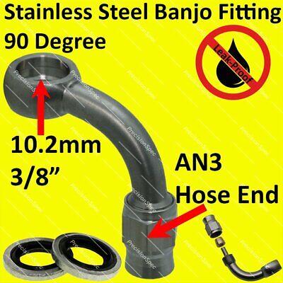 "90DEG fitting 40/"" 100cm Braided Steel Teflon Hose 1//4/"" #2 4AN to 4AN Straight"