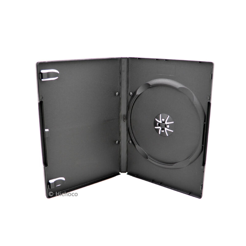 100 Standard 14mm Single CD DVD Black Movie Case Box