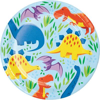 Dinosaur Friends Dessert Plates (8) - Dino Birthday Party Supplies - Dinosaur Plates