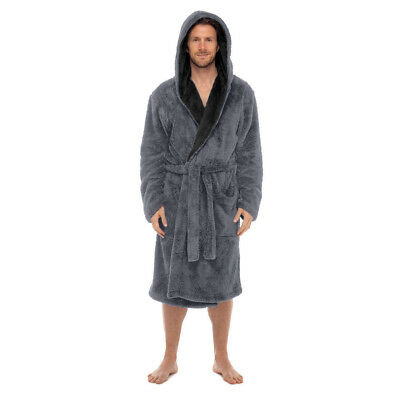 Mens-ROBE Bathrobe-Contrast Hood -Coral Fleece-SUPER SOFT -USA Seller FAST SHIP - Mens Hooded Bathrobe