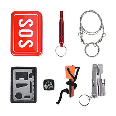 Outdoor Camping Hiking Survival Emergency Gear Tools Box Kit Set SOS Help