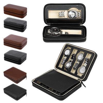 Portable Travel Watch Storage Case Box 2/4/8 Grids Leather Wristwatch Organizer