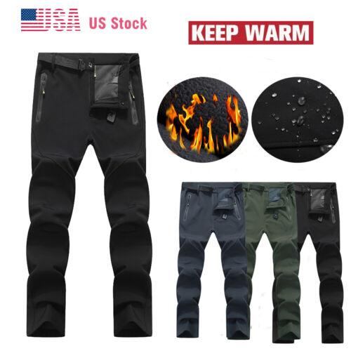 Mens Outdoor Snow Pant Fleece Lined Windproof Hiking Pants W