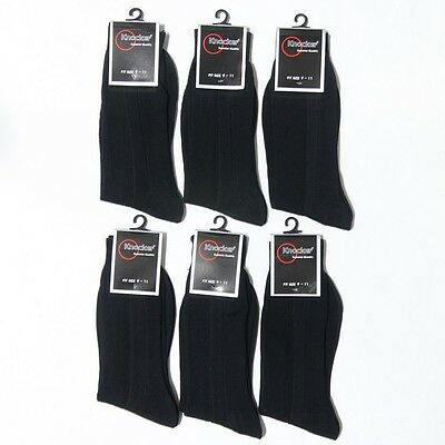 - 6 12 Pairs Crew Casual Dress Socks Solid Black Plain Ribbed Mens 10-13