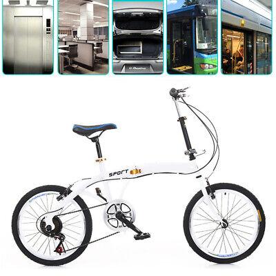Bicicleta plegable de 20 pulgadas 7 velocidades doble V acero al carbono 44T