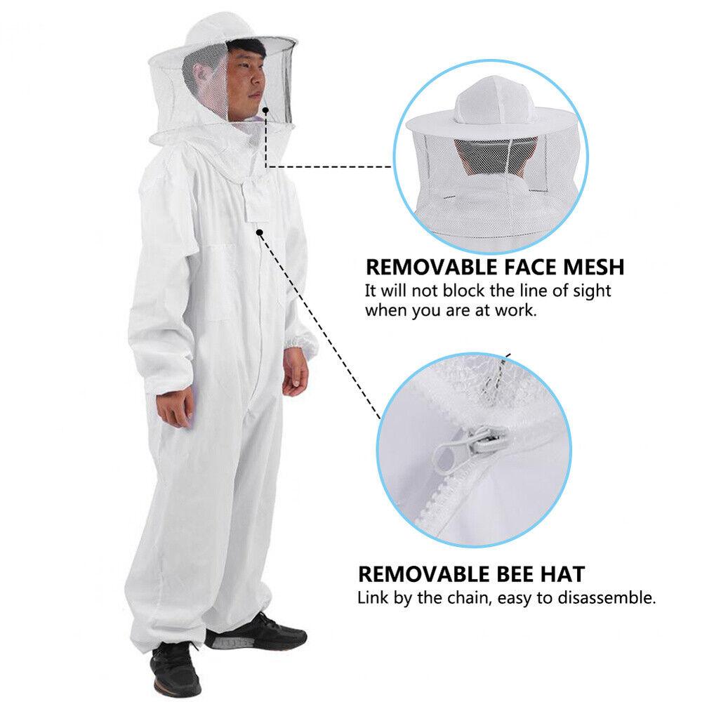 XXL Beekeeper Protect Bee Jacket keeping Suit Safty Veil Hat Body Set US POWER