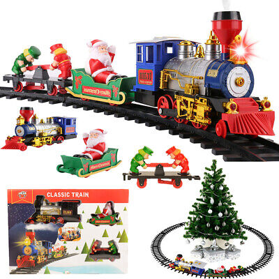 15Pcs Large Classic Christmas Train & Track Set With Sound Light Smoke Kids Gift