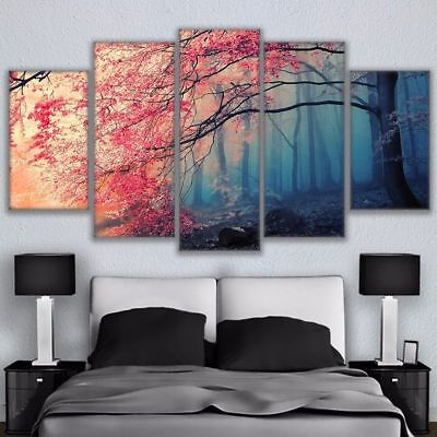 - Cherry Blossoms Fog Forest 5 panel canvas Wall Art Home Decor Poster Picture