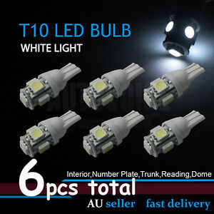 6x White W5W T10 5LED Interior Wedge Side Tail Parker No.Plate Light Lamp Bulb