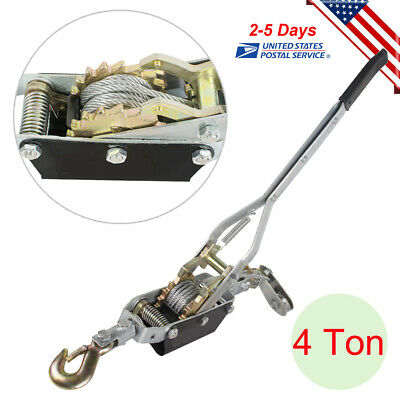 4ton Come Along Hoist Ratcheting Cable Winch Puller Crane Comealong Tool Usa
