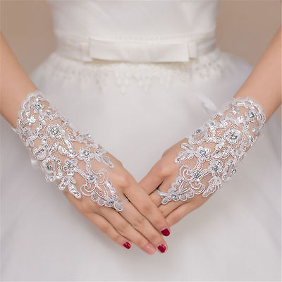 NEW! White Crystal Wedding Bridal Glove Accessory Beaded Lace Fingerless.Gloves - Lace Fingerless Gloves