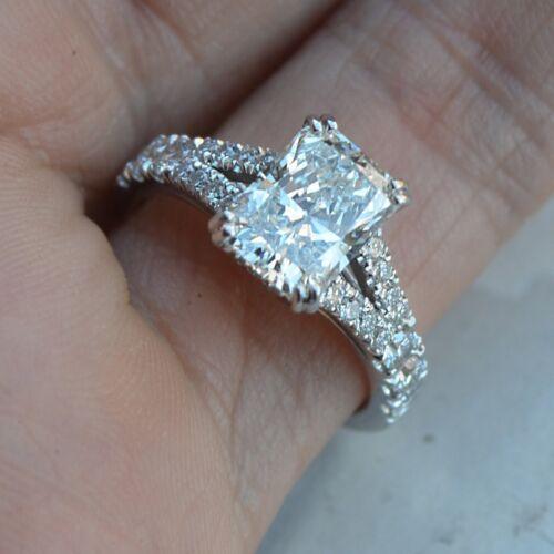 18k White Gold GIA Certified 2.20 Carat Radiant Cut Diamond Engagement Ring