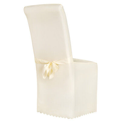 Stuhlhusse Stuhlüberzug Stuhlbezug Stuhl Hussen Bezug mit Schleife Hochzeit beig