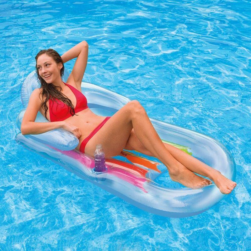 Aqua Sunrise Lounge Chair Pool Float w/ Drink Holder & Foot Cooler - Multi-Color