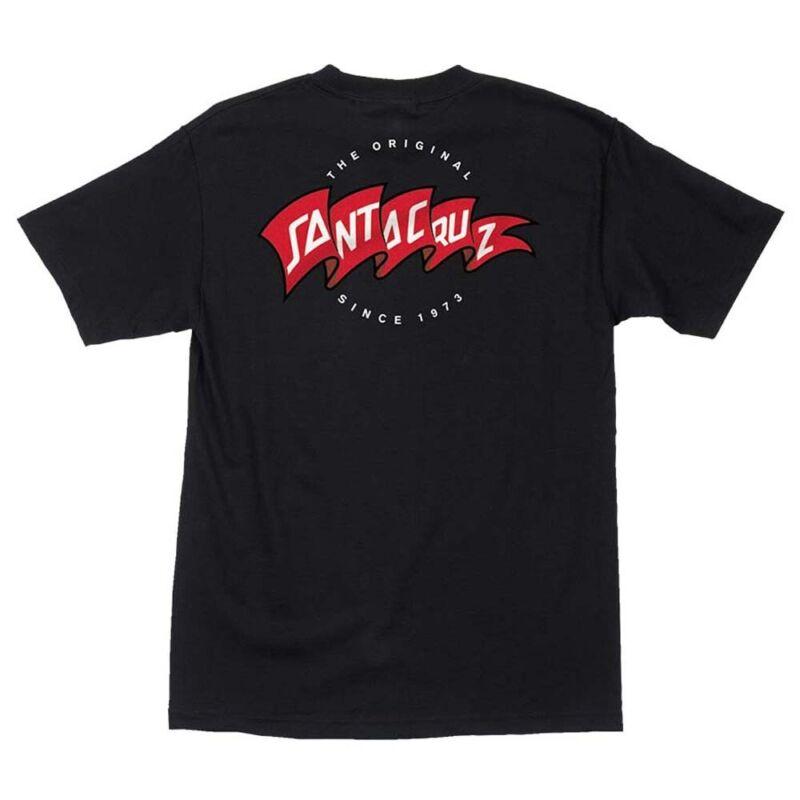 Santa Cruz BANNER Skateboard T Shirt BLACK LARGE