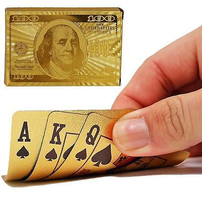 Stylish Waterproof 24K Gold Foil Plated Cover Poker 54 Playing Cards Table Games