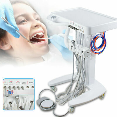 4-hole Dental Mobile Cart Portable Delivery Therapeutic Equip Movable Cart Unit