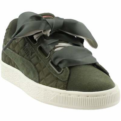 Puma Suede Heart Quilt Sneakers Casual    - Green - Womens