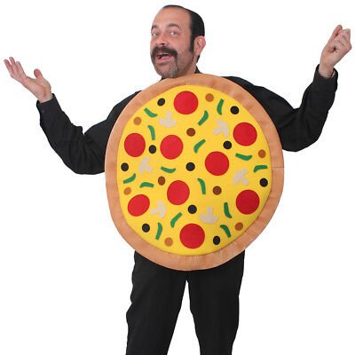 ADULTS PIZZA COSTUME PLUSH NOVELTY FUNNY WHOLE PIZZA FAST FOOD ITALY FANCY DRESS