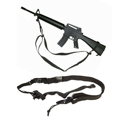 Tactical Black 3 Point Airsoft Rifle Gun Sling Universal Strap Hunting Paintball ()