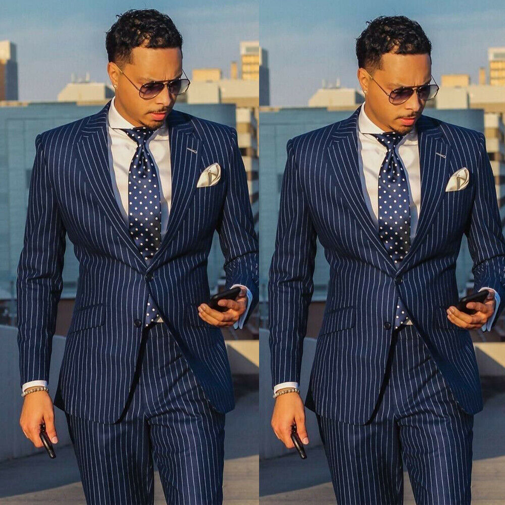 Navy Blue Men/'s Double Breasted Striped Suit Tuxedos Dinner Wedding Suit Custom
