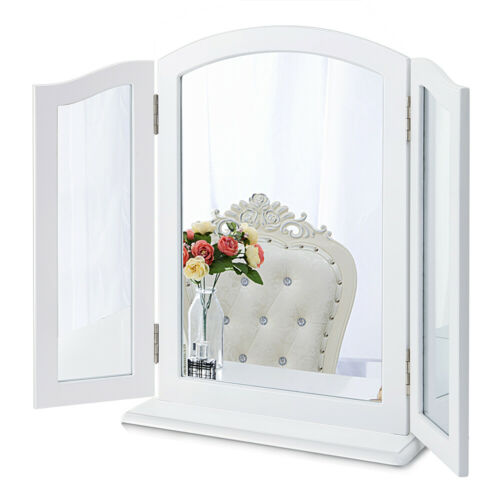 Chende Tri-fold Vanity Mirror with Frame Wall Mounted Makeup