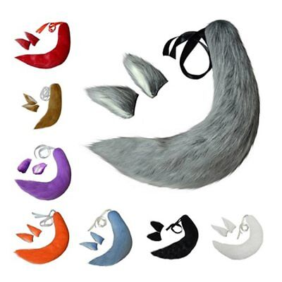 Fox Cat Dog Plush Tail Clip Ears Halloween Cosplay Props Anime Spice and Wolf](Halloween Cat Tail And Ears)