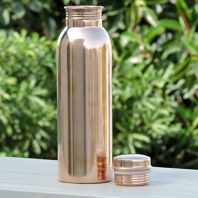 Copper Water Bottle 650ml Handmade India Ayurveda Yoga Health Benefit Joint Free