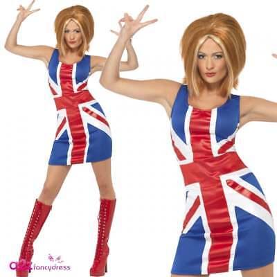 Spice Girl Kostüm (Ingwer Union Jack 90er Jahre Mädchenpower Verrücktes Kleid Kostüm Spice Girls)