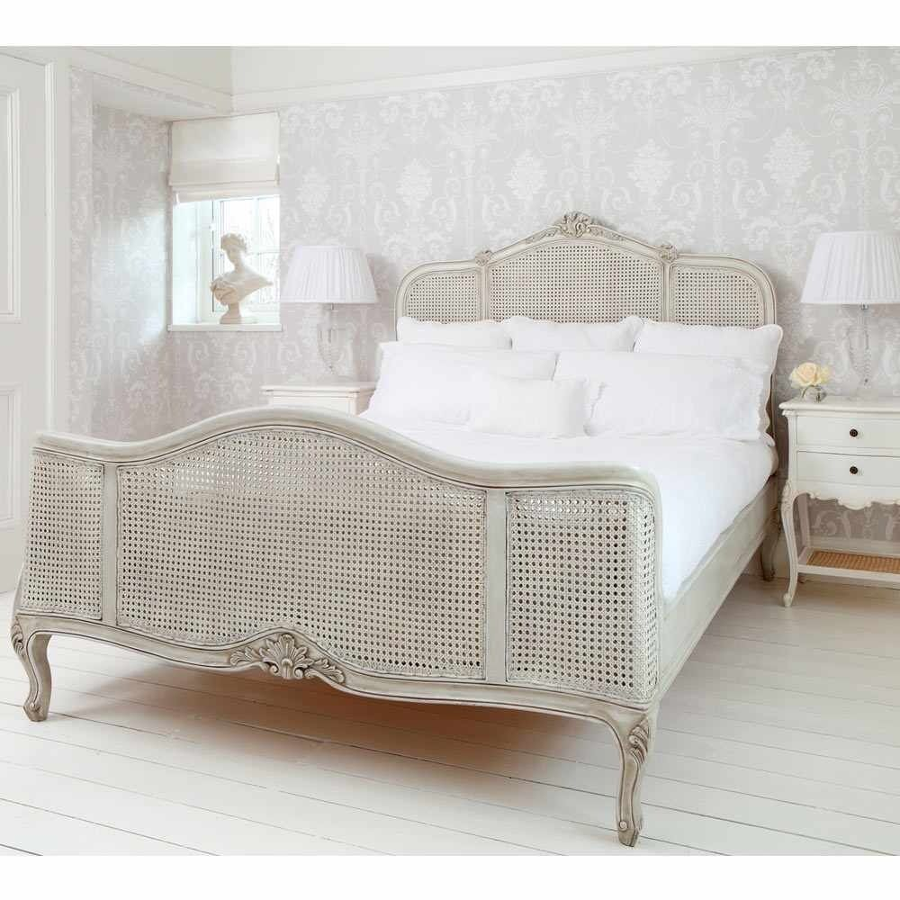 *For Sale* Ex Display French Bedroom Company French Grey Painted Rattan  King Size Bed