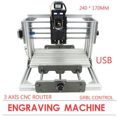 Mini 3 Axis Cnc Router Wood Carving 2417 Pcb Milling Machine Router Engraver Dhl
