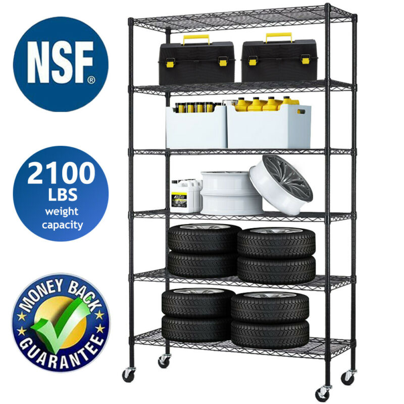 """6 Tier Commercial Wire Shelving Rack 48""""x18""""x82"""" Adjustable Metal Rack W/Casters"""