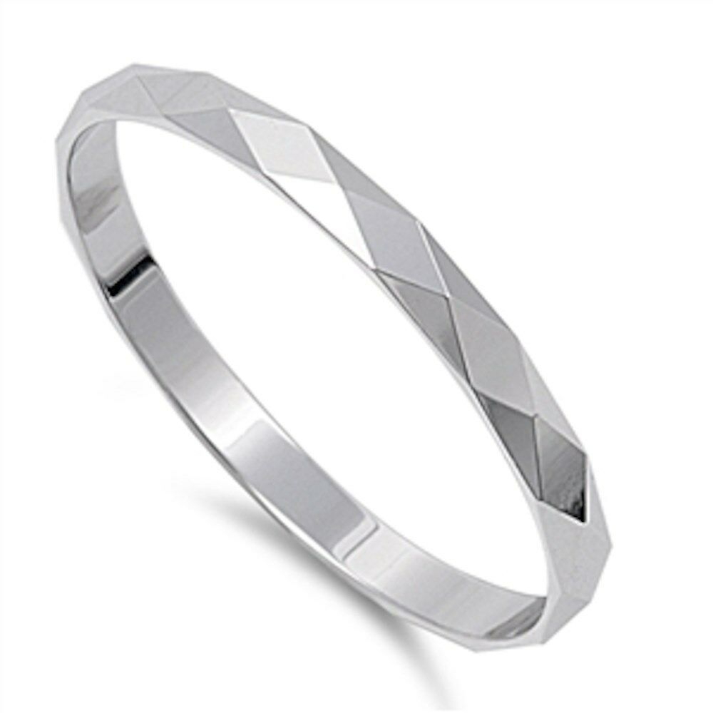 solid diamond cut 2mm band 925 sterling