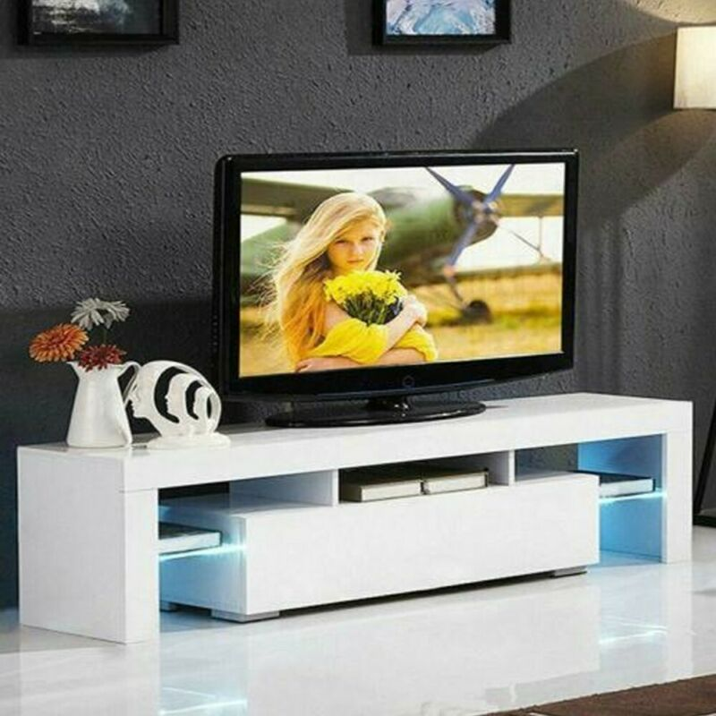 Modern Led Tv Cabinet With Storage Drawers High Gloss Tv Stand For 65 Inch Tv Living Room Entertainment Center Media Console Table Black Tv Stand With Lights Tv Cabinet Wholesale Television Accessories Kolenik