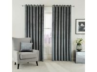 NEW Peacock Blue Hotel Collection Escala Velvet Lined Curtains 90 x 90 in Steel-RRP £133.00