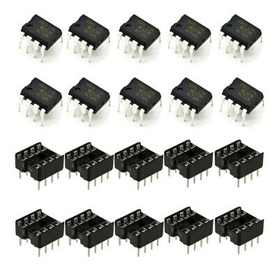 10pcs Ne555 Ic 555 Texas Instruments Dip-8 Timer With Socket - Usa Seller